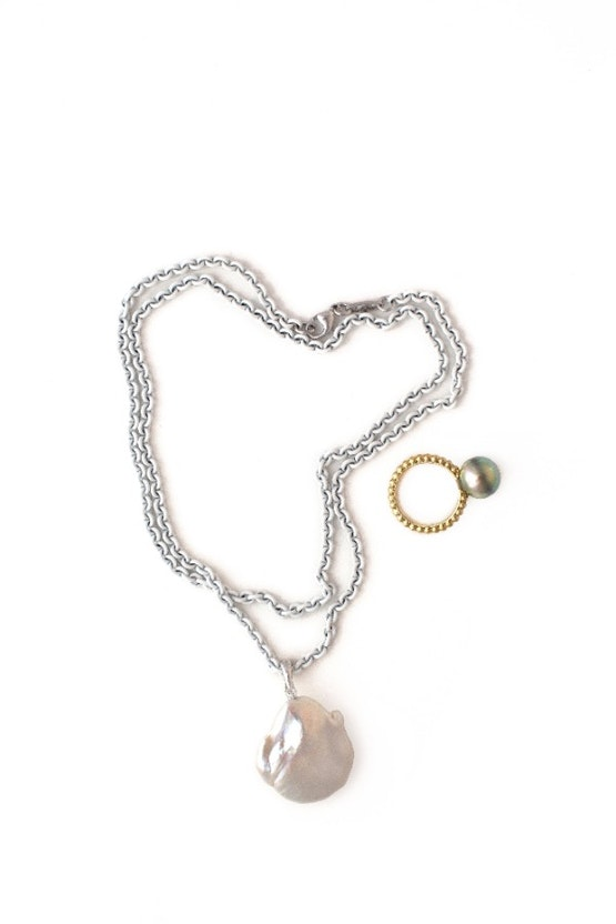 White Chain with ring Resized